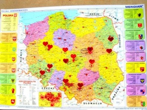 Map of Poland - Hearts designate each city where Kitty spoke